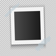 Photo frame. White plastic border on a transparent background. Vector illustration.
