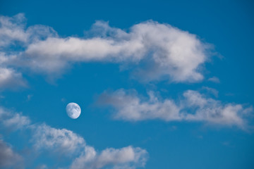 Bright moon among clouds
