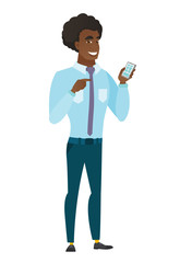 Caucasian business man holding a mobile phone.
