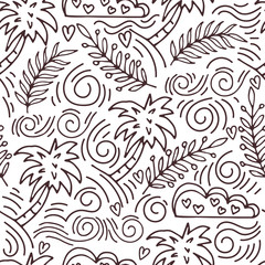 seamless hand-drawn pattern with palm trees and clouds