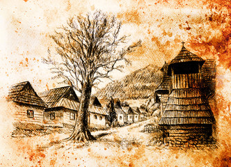 vintage mountain oldtime willage with wooden houses and belfry, pencil drawing on papier, sepia effect.