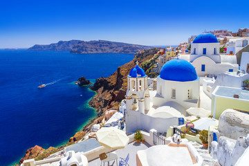 Wall Murals European Famous Place Beautiful Oia town on Santorini island, Greece