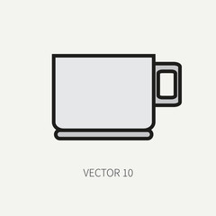 Line flat color vector kitchenware icons - cup. Cutlery tools. Cartoon style. Illustration and element for your design. Equipment for food preparation. Kitchen. Household. Cooking. Cook.Tea.