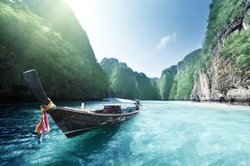 Printed kitchen splashbacks Light blue boat and beautiful sea, Phi Phi island, Thailand