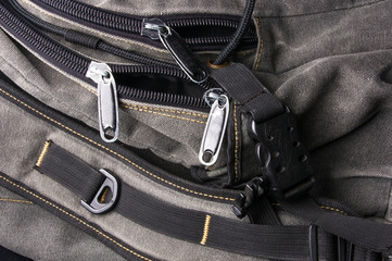 fittings and zips in the backpack