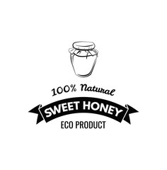 Honey jar , sketch style vector illustrations isolated on white