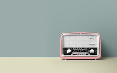 Vintage antique retro old radio on background