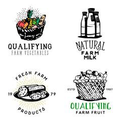 Set of fresh farm food badges in vintage style