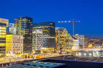 Bjorvika business quarter (Barcose). Night cityscape.