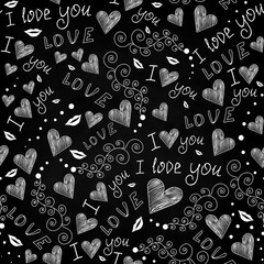 Beautiful Valentine's abstract vector seamless pattern with words of love, hand drawn hearts and decorative ornaments, handwritten with chalk on grey blackboard effect