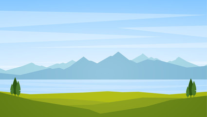 Vector illustration: Landscape with lake or bay and mountains on horizon