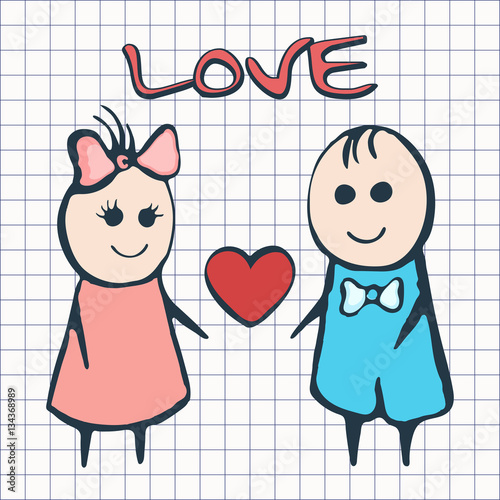 I Love You Card For Valentine S Day February 14th Cartoon Lovers