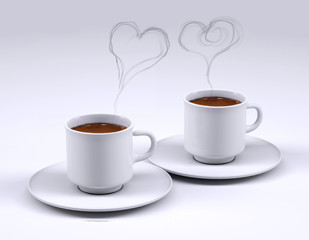 Two white coffee cup with heart smoke