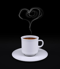 White coffee cup with heart smoke