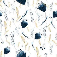 Floral seamless pattern with hand drawn blue flowers and plants. Spring background. Wrapping paper. Vector illustration. Wrapping paper.