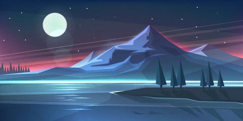 Night mountain landscape on lake. Vector illustration