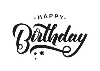 Vector illustration: Handwritten modern brush lettering of Happy Birthday on white background. Typography design. Greetings card