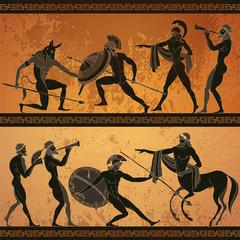 Ancient Greece banner. Black figure pottery