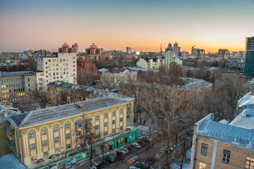 Autumn evening cityscape view of Voronezh downtown