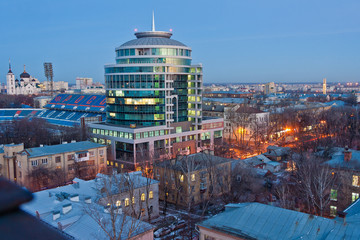 Evening cityscape view of Voronezh, stadium and business center