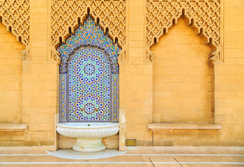 Moroccan style fountain with fine colorful mosaic tiles