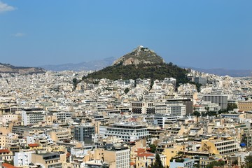Panorama of Athens dominated by Lycabettus hill