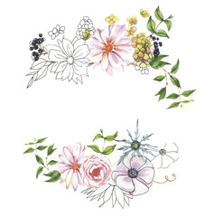 Hand-drawn colorful floral bouquets. Watercolor natural compositions with rose and hydrangea, berries, leaves