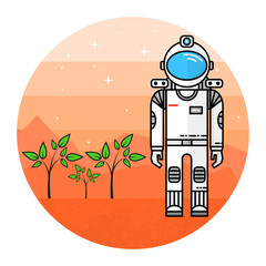 Astronaut grow plants on Mars.