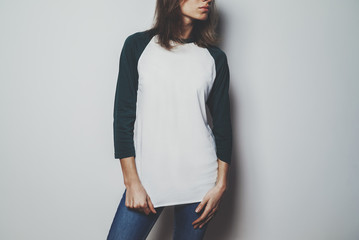 Young hipster girl wearing blank white t-shirt with empty space for your logo or design, mock-up of t-shirt long sleeve