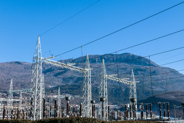 Angle view of infrastructure of electrical substation distributing renewable energy
