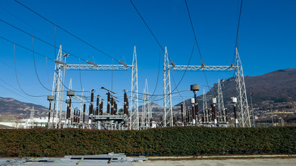 Infrastructure of electrical electrical substation distributing renewable energy, panoramic