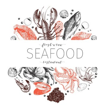 Vector hand drawn seafood banner. Lobster, salmon, crab, shrimp, ocotpus, squid, clams.Engraved art