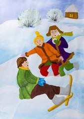 """Детский рисунок гуашью """"Катание на лыжах"""""""