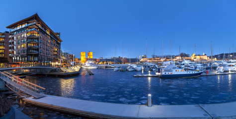 Panoramic view of marina with Akershus Fortress and City hall