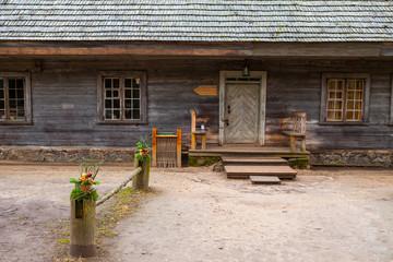 Door and doorstep of wooden rural house, Nothern Europe.