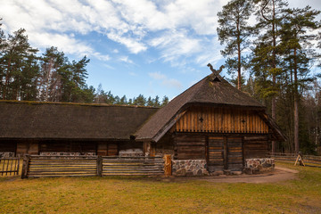View of the rustic farm building. Wooden architecture of North and Baltics
