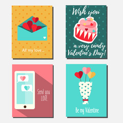 St Valentine's day vector vertical banners, greeting cards, party invitations design templates. Romantic holidays, love theme