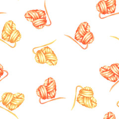 Seamless pattern with watercolor yellow and red heart ball of yarn; hand drawn on a white background