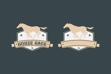 premium Horse racing vintage logo badge silhouette
