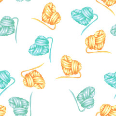 Seamless pattern with watercolor yellow and blue heart ball of yarn; hand drawn on a white background