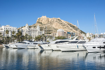 View from the yacht marine port on Santa Barbara castle in Alicante, Costa Blanca, Spain