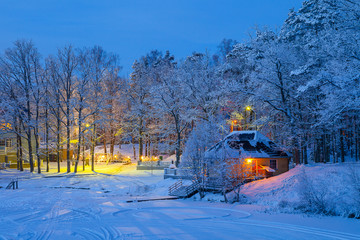 Snowy winter scene of illuminaned cottages in foresr near frozen lake