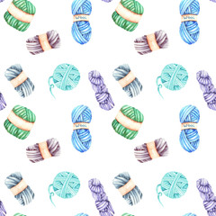 Seamless pattern with watercolor knitting yarn, hand drawn on a white background