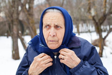 Angry elderly woman outdoor