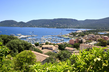 View to the port of Porto Vecchio, Corsica, France.