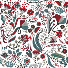 Floral seamless pattern. Hand drawn creative flower. Colorful artistic background with blossom. Abstract herb. It can be used for wallpaper, textiles, wrapping, card. Vector illustration, eps10