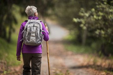 Mature woman goes for a hike along a leafy forest trail.
