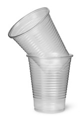 Two plastic cups each other