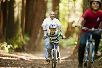Two boys riding their bicycles with their father through the forest.