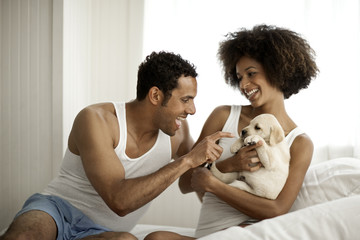 Couple plays with puppies on a bed.